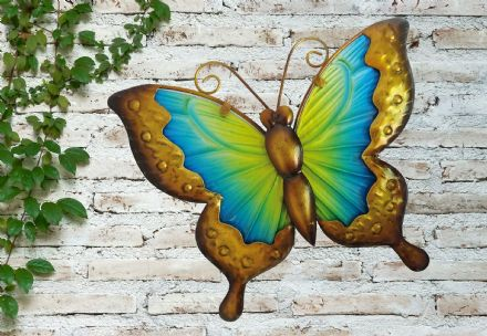 Blue U0026 Yellow Butterfly Colourful Hand Painted Glass U0026 Metal Garden Wall Art  .